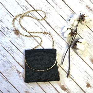 Vintage La Regale Black Straw Gold ChainLink Purse